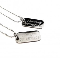Her One His Only Mini Dog Tag Necklace Set