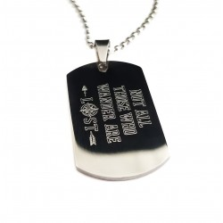 Compass Quote Dog Tag Necklace