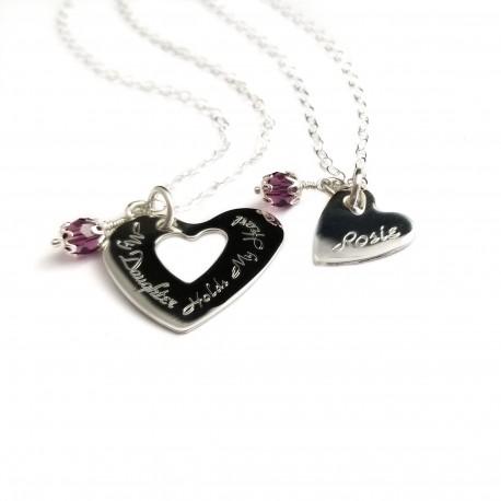 925 Sterling Silver Mother Daughter Necklace Set