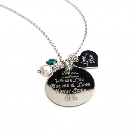 Where Life Begin's Mothers Quote Necklace