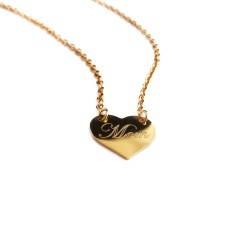 Mom Gold Heart Necklace