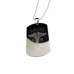 RN Caduceus Nursing Dog Tag Necklace