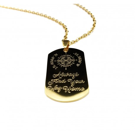 Compass Quote Gold Steel Dog Tag