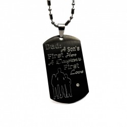 Father's Black Dog Tag Necklace