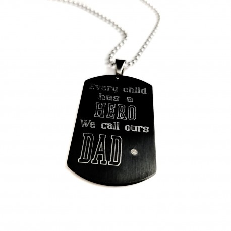 Every Child Has A Hero Black Dog Tag Necklace