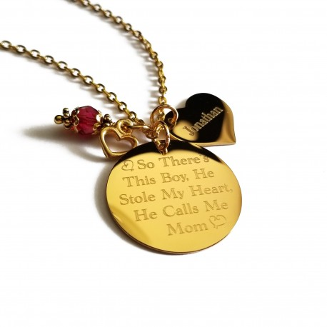 Personalized Mother Son Gold Necklace