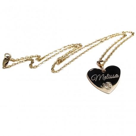 14k Gold Filled Rose Heart Name Necklace