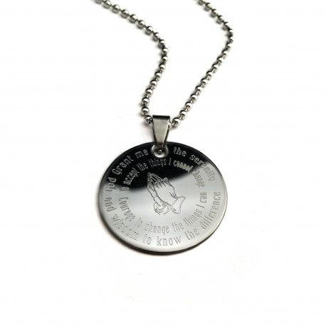 Serenity Prayer Pendant Necklace