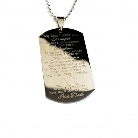 Strength, Wisdom and Adventure Dog Tag Necklace