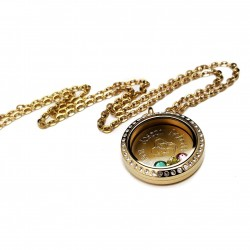 Gold Mother and Children Floating Locket
