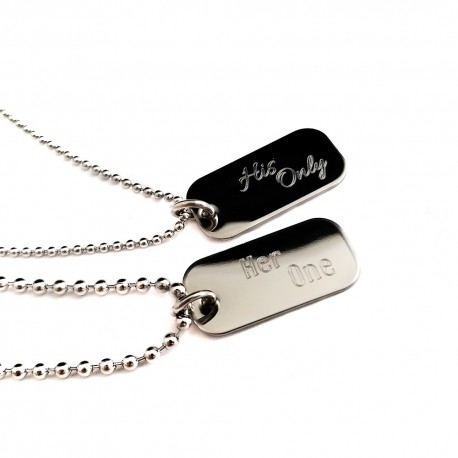 Couples Her One His Only Mini Dog Tag Set