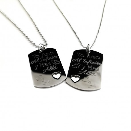 Her One , His Only Mini Heart Cut Out Necklace Set