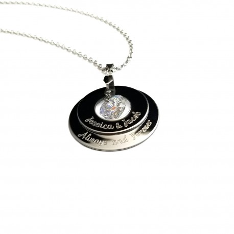 Couples Double Tier Swarovski Heart Necklace