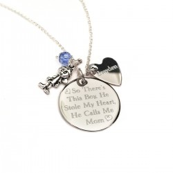 Personalized 925 Sterling Silver Mother Son Necklace