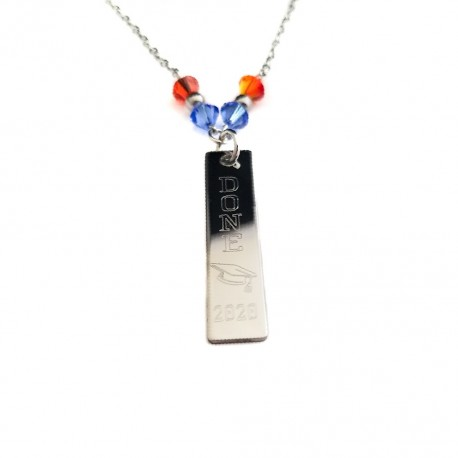 Graduation Crystal Bar Necklace