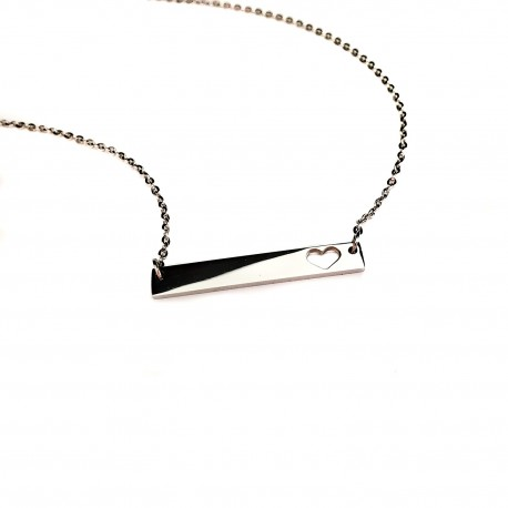 Heart Cut Out Bar Necklace