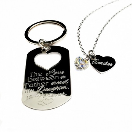 The Love Between Father Daughter Key Chain Necklace Set