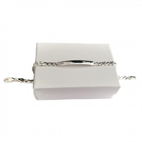 925 Sterling Silver Heavy Curb Personalized  Id Bracelet