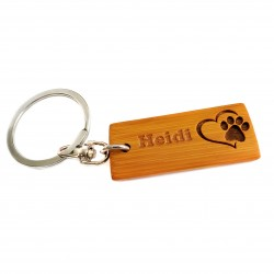Paw Print Heart Key Ring