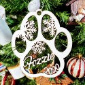 Paw Print Personalized Wood Ornament