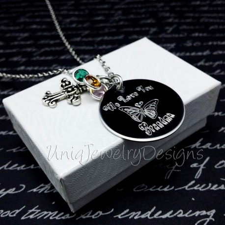 Grandma Butterfly Birthstone Necklace